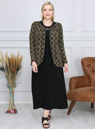 Gold - Black - Unlined - Crew neck - Plus Size Dress
