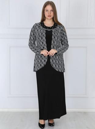 Silver tone - Black - Unlined - Crew neck - Plus Size Dress