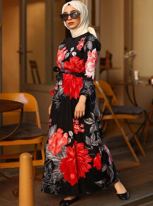 Black - Black - Floral - Crew neck - Unlined - Cotton - Dress
