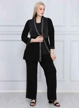 Silver tone - Black - Crew neck - Unlined - Plus Size Suit