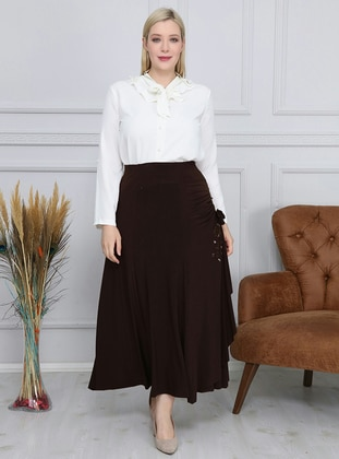 Brown - Unlined - Plus Size Skirt