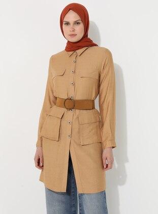 Beige - Unlined - Point Collar - Topcoat