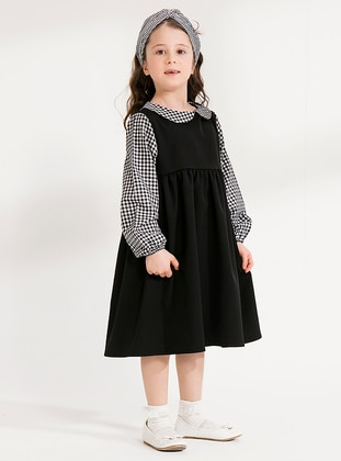 Black - Checkered - Round Collar - Cotton - Unlined - Black - Girls` Dress