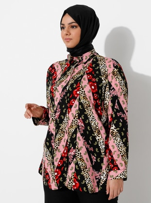 Pink - Leopard - Point Collar -  - Blouses