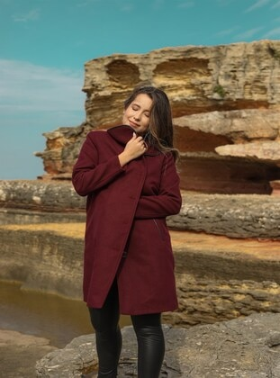 Maroon - Plus Size Overcoat