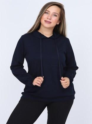 Navy Blue - Plus Size Sweatshirts - RMG XXL