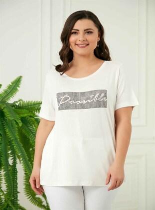Ecru - Plus Size T-Shirts - RMG XXL