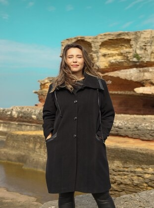 Black - Plus Size Overcoat