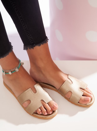 Gold - Sandal - Slippers - Ayakkabı Havuzu