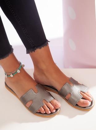 Silver tone - Sandal - Slippers - Ayakkabı Havuzu
