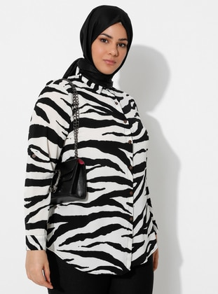 White - Black - Zebra - Point Collar -  - Blouses
