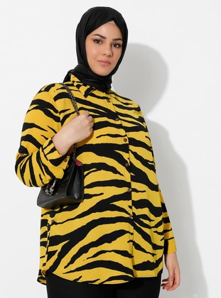 Yellow - Black - Zebra - Point Collar -  - Blouses