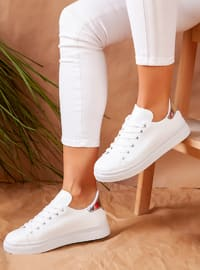 White - Silver tone - Sport - Sports Shoes