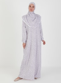Purple - Floral - Unlined - Prayer Clothes
