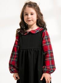 Black - Plaid - Round Collar - Cotton - Unlined - Black - Girls` Dress