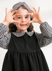Black - Checkered - Round Collar - Cotton - Unlined - Black - Girls` Dress