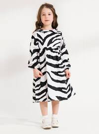 White - Zebra - Round Collar - Cotton - Unlined - White - Girls` Dress