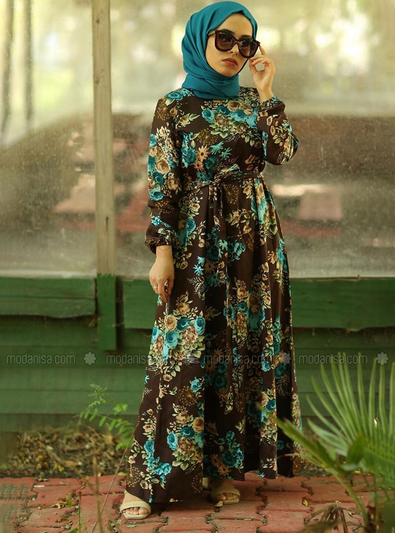 Brown - Brown - Floral - Crew neck - Unlined - Cotton - Dress