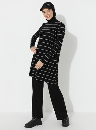 Black - Stripe - Viscose - Crew neck - Tracksuit Set