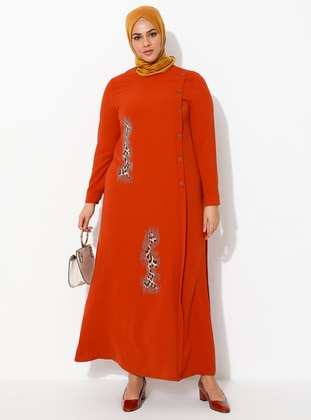 Terra Cotta - Unlined - Crew neck - Viscose - Plus Size Dress