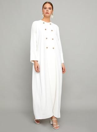 White - Unlined - Crew neck - Abaya