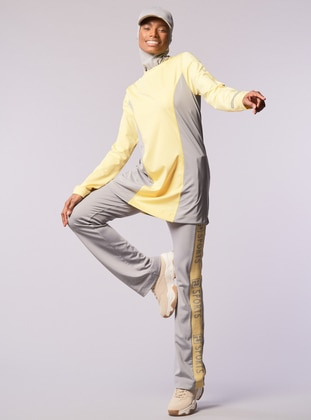 Gray - Yellow - Crew neck - Sweatpants