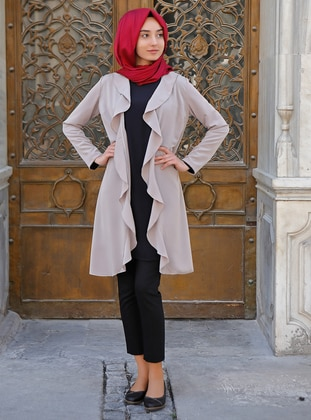 Beige - Unlined - Cotton - Jacket