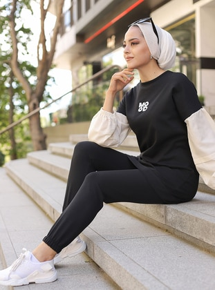Black -  - Crew neck - Tracksuit Set -  Sports