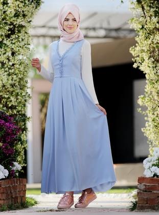 Baby Blue - V neck Collar - Fully Lined -  - Dress