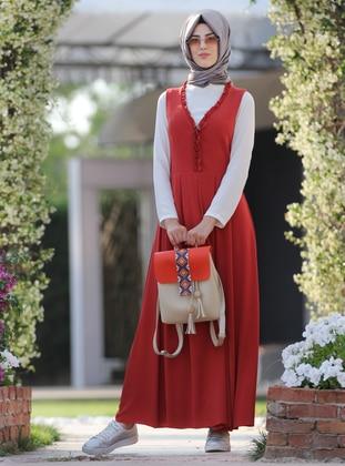 Terra Cotta - V neck Collar - Fully Lined -  - Dress