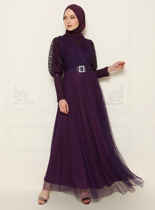 Purple - Crew neck - Muslim Evening Dress