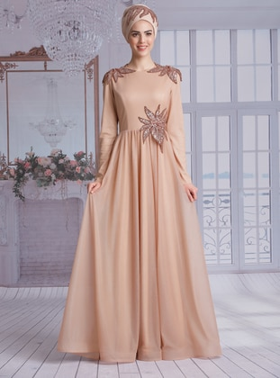 Gold - Fully Lined - Crew neck -  - Muslim Evening Dress