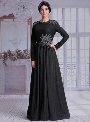 Black - Fully Lined - Crew neck -  - Muslim Evening Dress