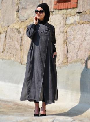 Anthracite - Shawl Collar -  - Abaya