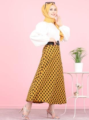 Mustard - Polka Dot - Unlined -  - Skirt