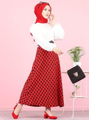 Red - Polka Dot - Unlined -  - Skirt