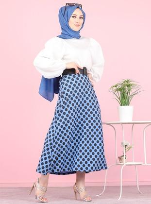Blue - Polka Dot - Unlined -  - Skirt