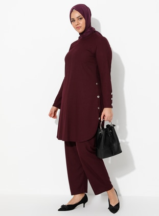 Plum - Crew neck - Unlined - Plus Size Suit