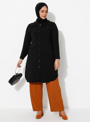 Black - V neck Collar - Viscose - Plus Size Tunic