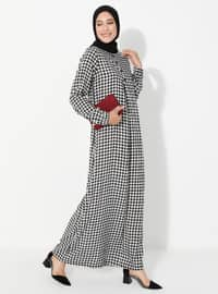 Black - Checkered - Crew neck - Unlined - Viscose - Dress