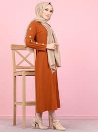 Tuğla - Yuvarlak yakalı - Astarsız - Elbise