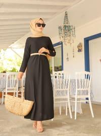 Siyah - Yuvarlak yakalı - Astarsız - Elbise