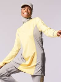 Gray - Yellow - Polo neck - Tracksuit Top