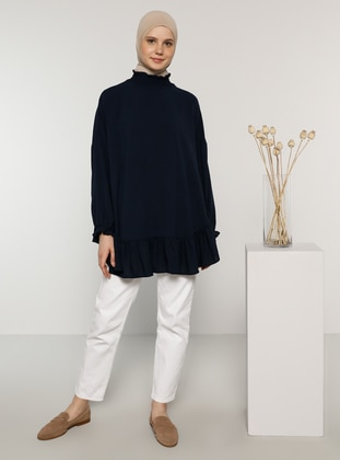 Navy Blue - Polo neck - Blouses