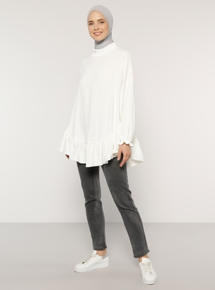 White - Ecru - Polo neck - Blouses - Benin