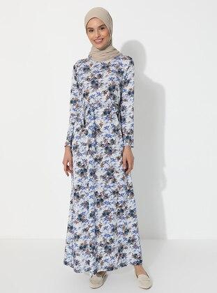 Blue - Floral - Crew neck - Unlined - Dress