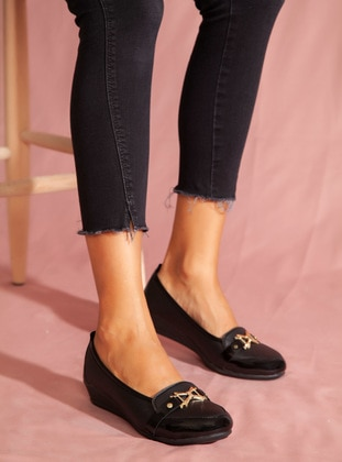 Black - Flat - Casual - Black - Casual Shoes