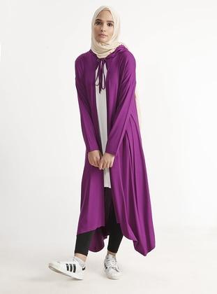 Purple - Viscose - Cardigan