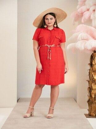 Coral - Muslim Plus Size Evening Dress