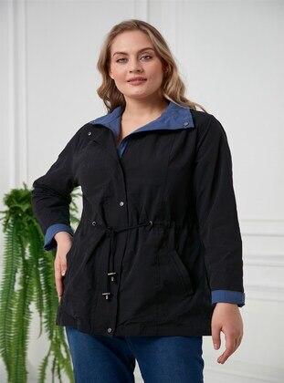 Black - Plus Size Trench coat